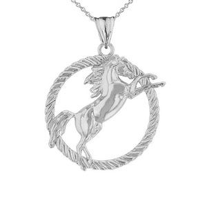 Silver Stallion Horse Rope Pendant Necklace